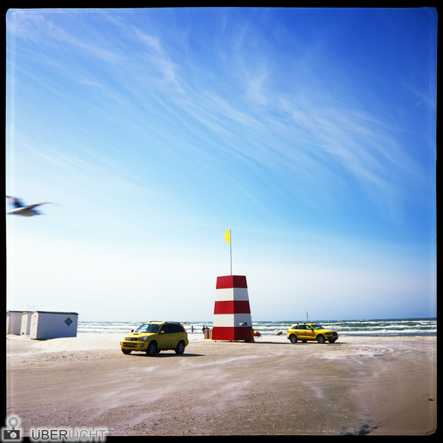 Agfa Click 2 camera medium format, lifeguard at Danish beach, analogue