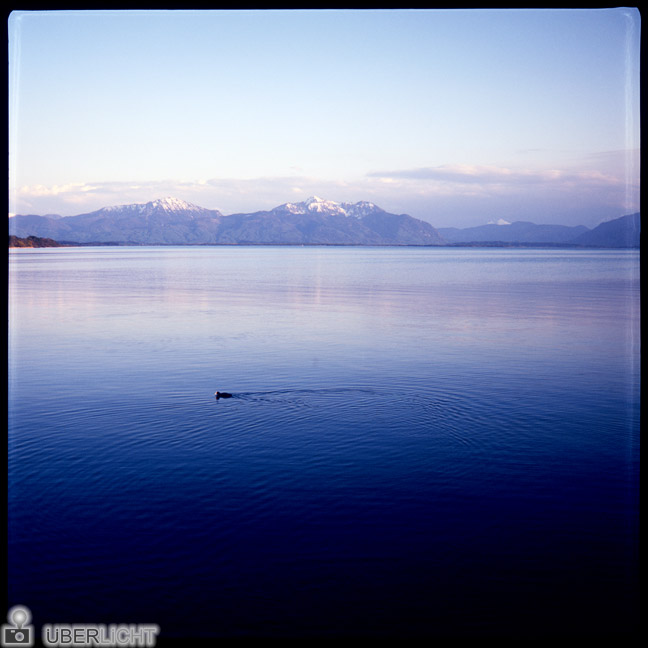 Agfa Click II, slide film 6x6, lake Chiemsee with Bavarian Alps, Germany, camera review