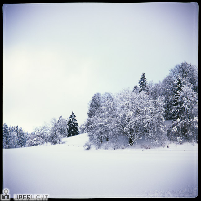 Agfa Click II, snowy winter landscapein Bavaria, Germany, analogue photograph