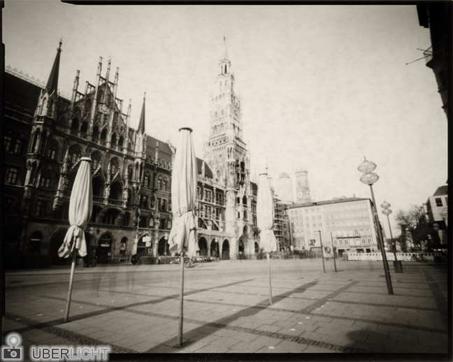 Harman Direct Positive Paper FB 02 pinhole photograph of Munich, Caffenol developer