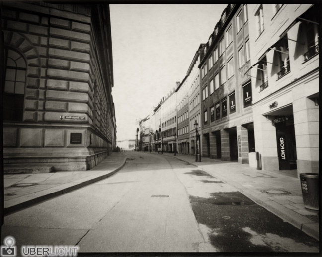 Harman Direct Positive Paper FB 03 Ilford pinhole camera photograph developed in Caffenol, Munich
