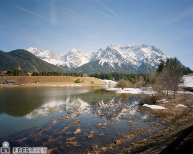 Ilford Harman Titan 4x5 Pinhole Photograph Alps Mountains Lake
